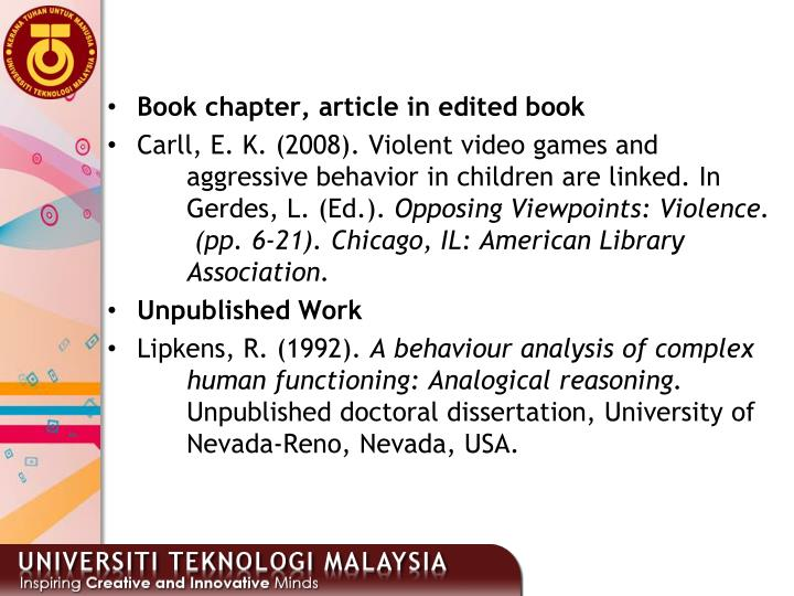Book chapter, article in edited book