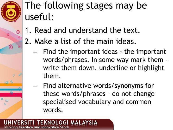 The following stages may be useful: