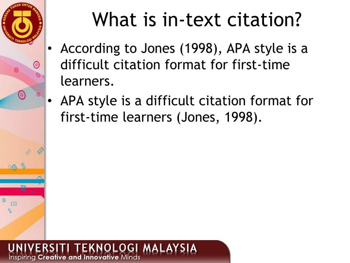 What is in-text citation?