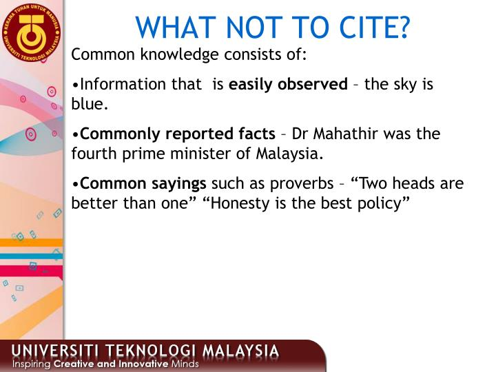 WHAT NOT TO CITE?