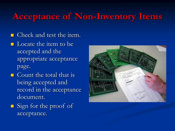 Acceptance of Non-Inventory Items
