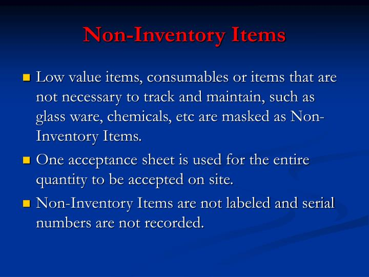 Non-Inventory Items