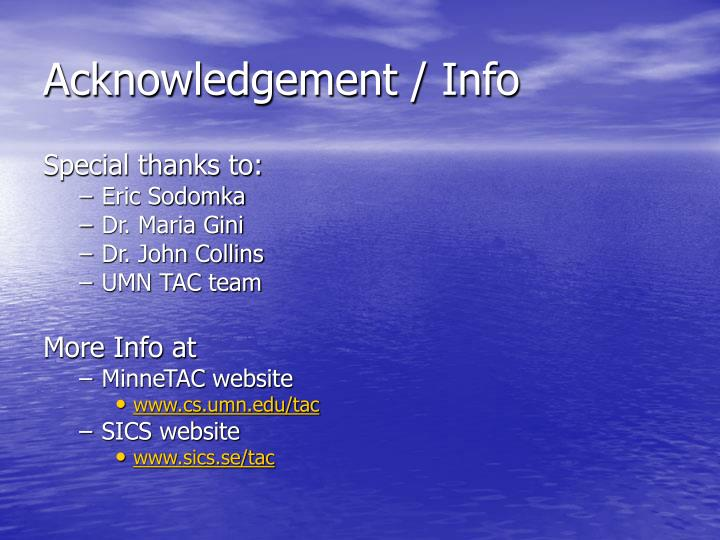 Acknowledgement / Info