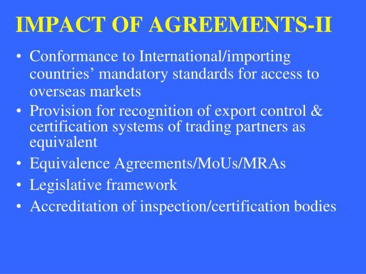 IMPACT OF AGREEMENTS-II