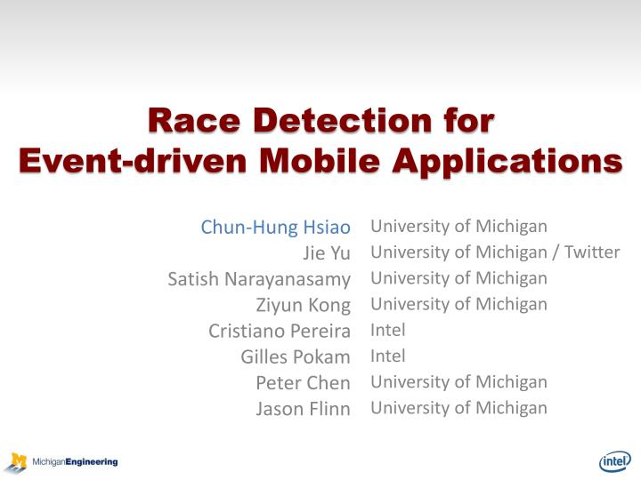 race detection for event driven mobile applications n.