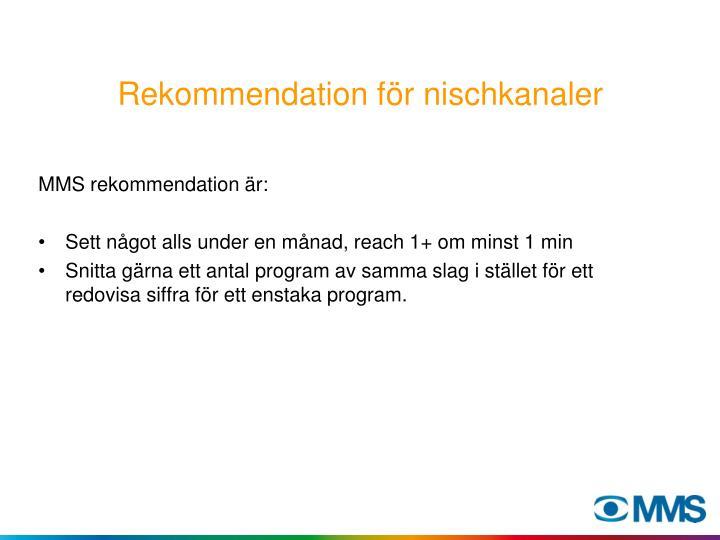 Rekommendation för nischkanaler