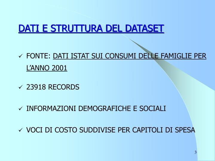 Dati e struttura del dataset