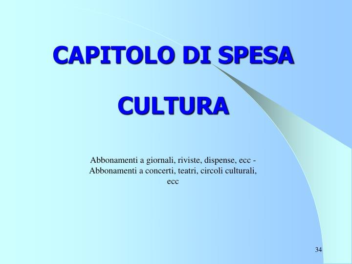 CAPITOLO DI SPESA