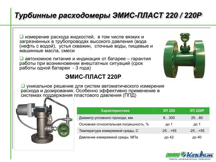 Турбинный расходомер ЭМИС-ПЛАСТ 220Р с регулятором расхода