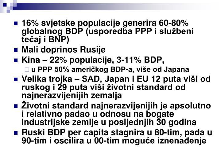 16% svjetske populacije generira 60-80% globalnog BDP (usporedba PPP i službeni tečaj i BNP)