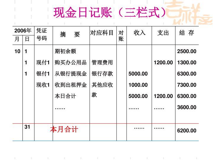 现金日记账(三栏式)