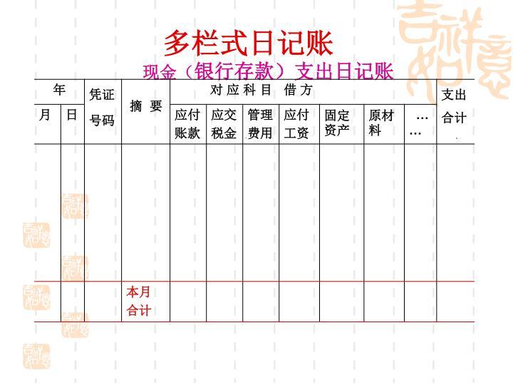 多栏式日记账