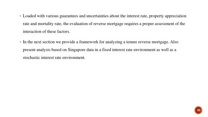 Loaded with various guarantees and uncertainties about the interest rate, property