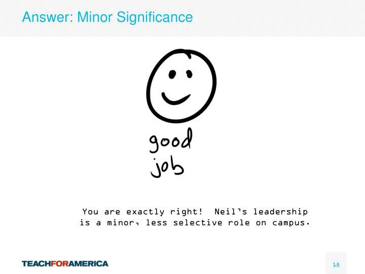 Answer: Minor Significance