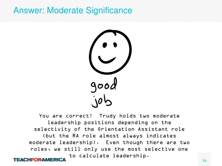 Answer: Moderate Significance