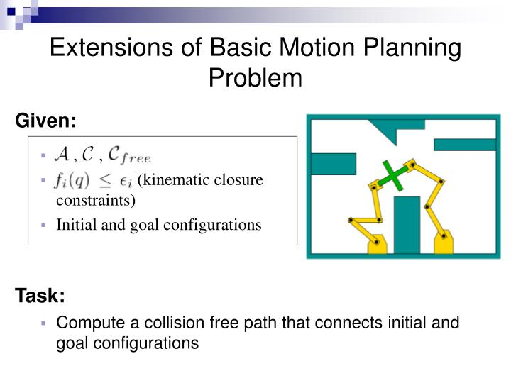 Extensions of Basic Motion Planning Problem