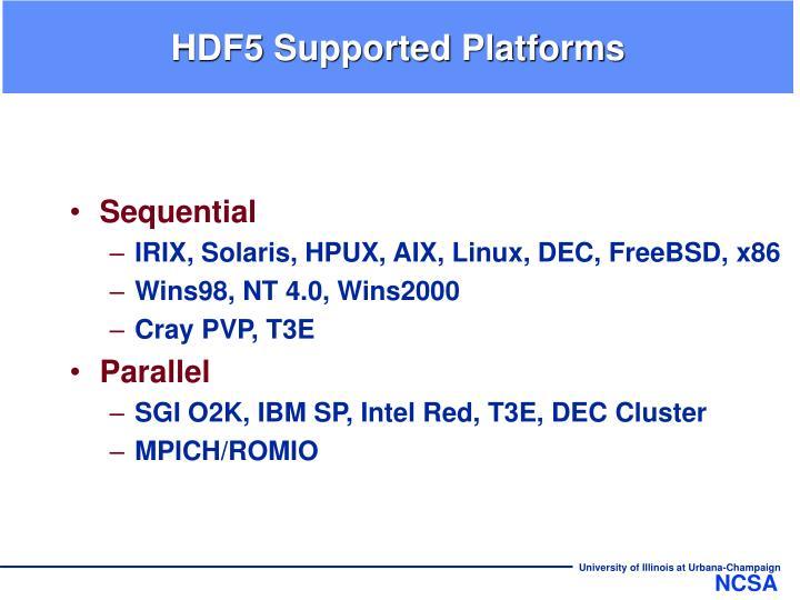 HDF5 Supported Platforms