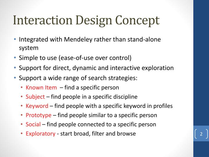Interaction design concept