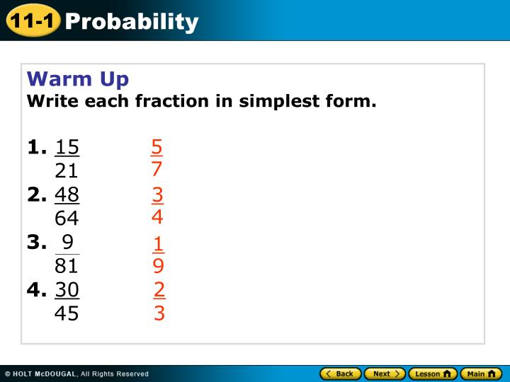 simplest form 3/9  PPT - Warm Up Write each fraction in simplest form. 16. 165 166 ...