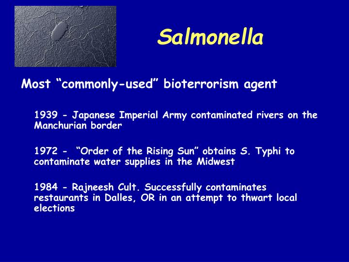 """Most """"commonly-used"""" bioterrorism agent"""