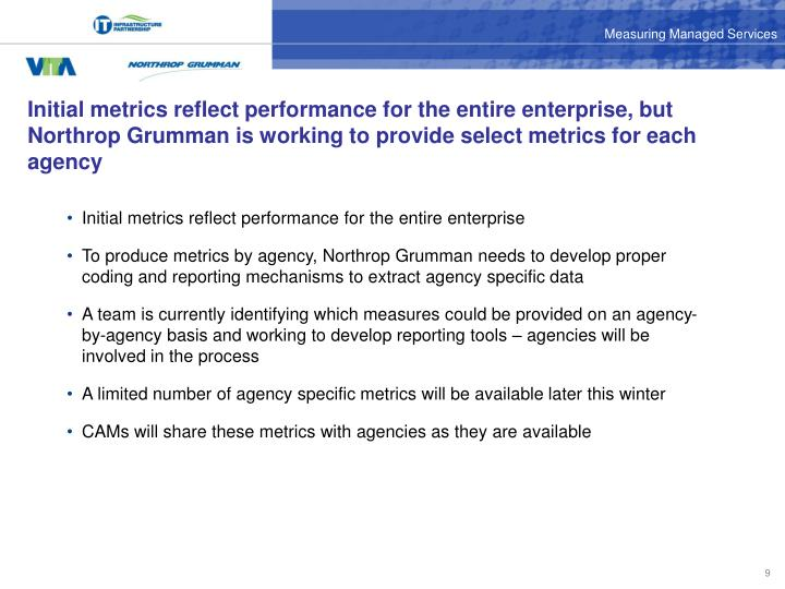 Initial metrics reflect performance for the entire enterprise, but