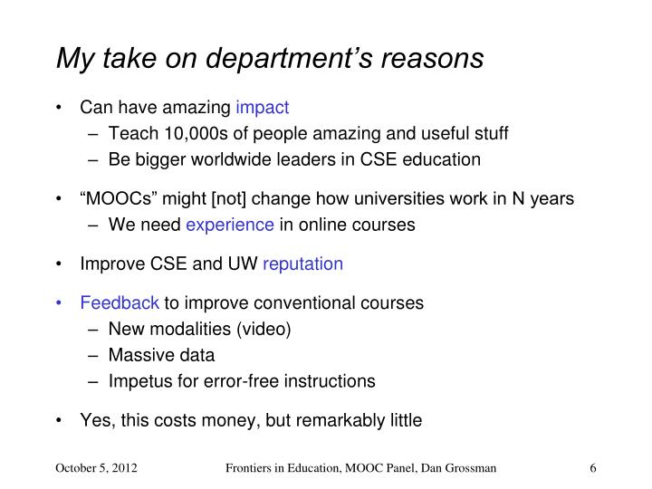 My take on department's reasons