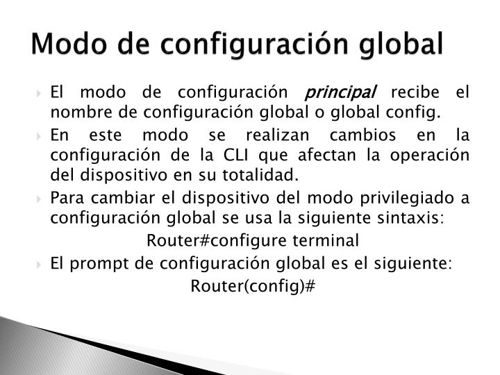 Modo de configuración global