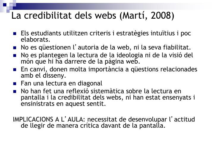 La credibilitat dels webs (Martí, 2008)
