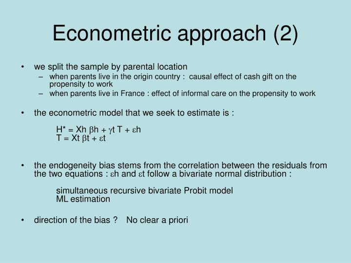 Econometric approach (2)