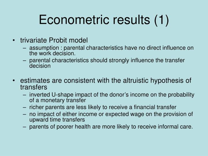 Econometric results (1)