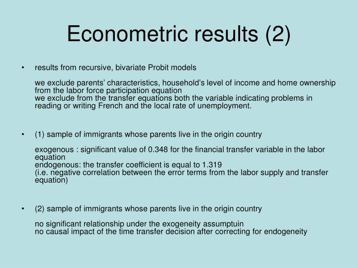 Econometric results (2)