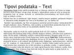 tipovi podataka text