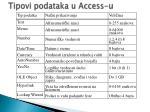 tipovi podataka u access u