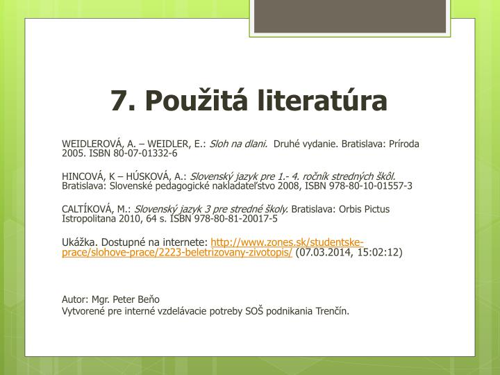 7. Použitá literatúra