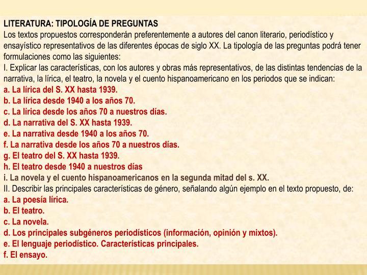 LITERATURA: TIPOLOGÍA DE PREGUNTAS