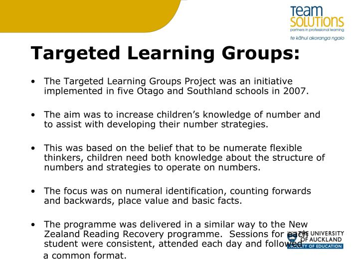 Targeted Learning Groups: