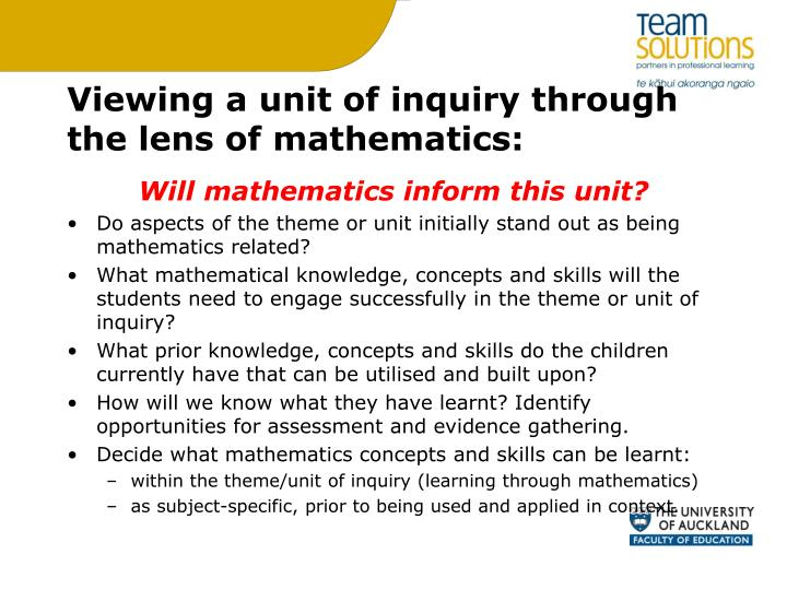Viewing a unit of inquiry through the lens of mathematics: