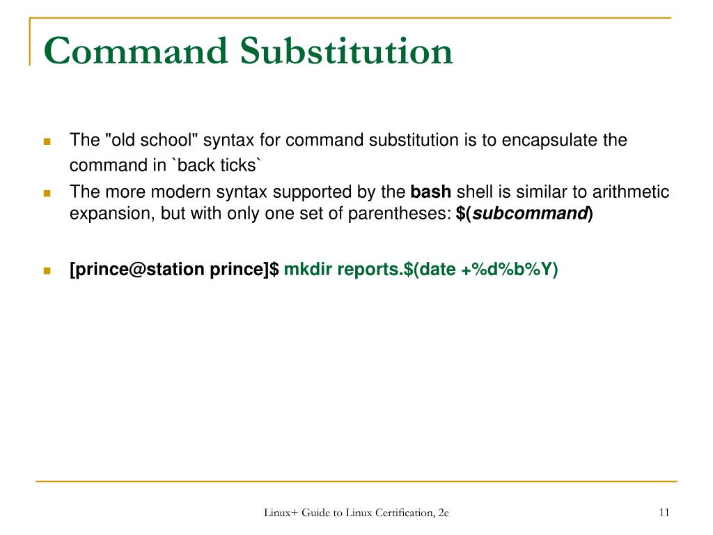 PPT - Workbook 6 – Part 2 The Bash Shell PowerPoint