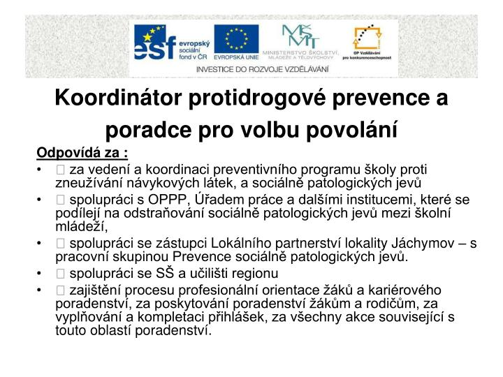 Koordinátor protidrogové prevence a poradce pro volbu povolání