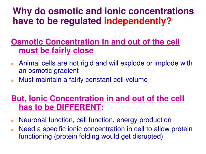 Why do osmotic and ionic concentrations have to be regulated