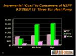incremental cost to consumers of hspf 9 0 seer 15 three ton heat pump
