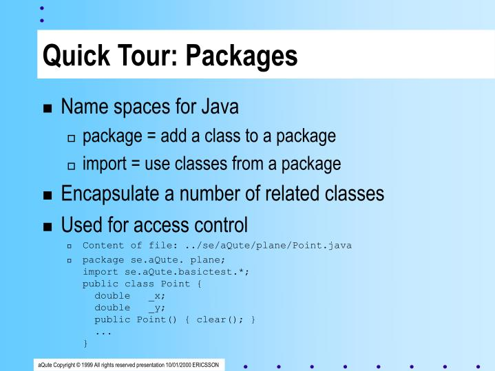 Quick Tour: Packages