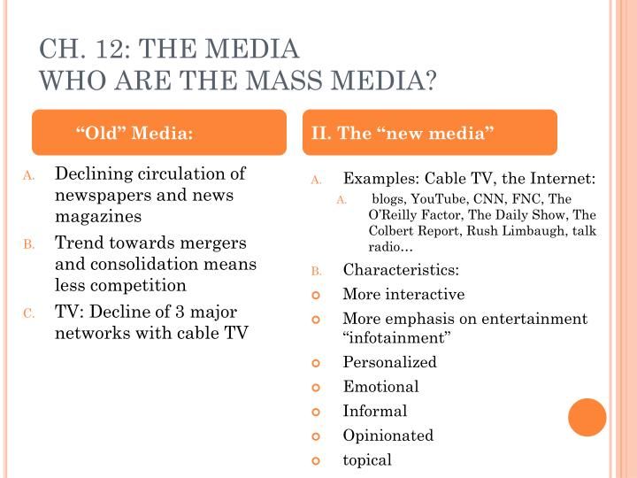 CH. 12: THE MEDIA