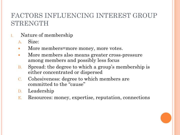 FACTORS INFLUENCING INTEREST GROUP STRENGTH