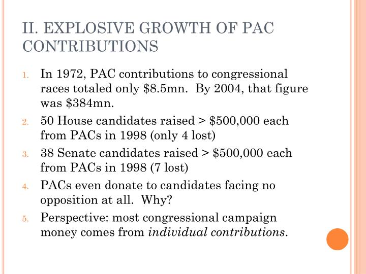 II. EXPLOSIVE GROWTH OF PAC CONTRIBUTIONS