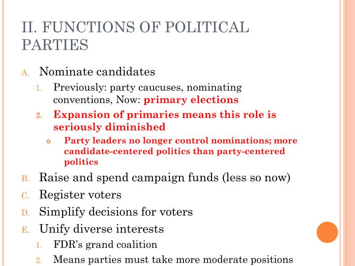 Ii functions of political parties