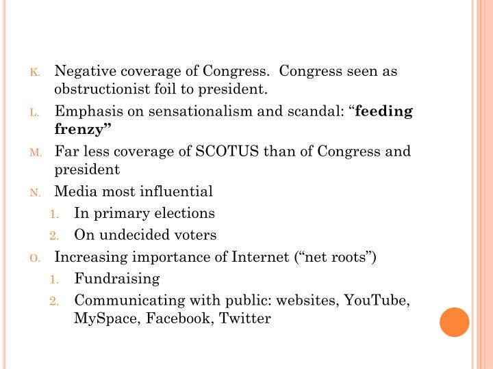 Negative coverage of Congress.  Congress seen as obstructionist foil to president.