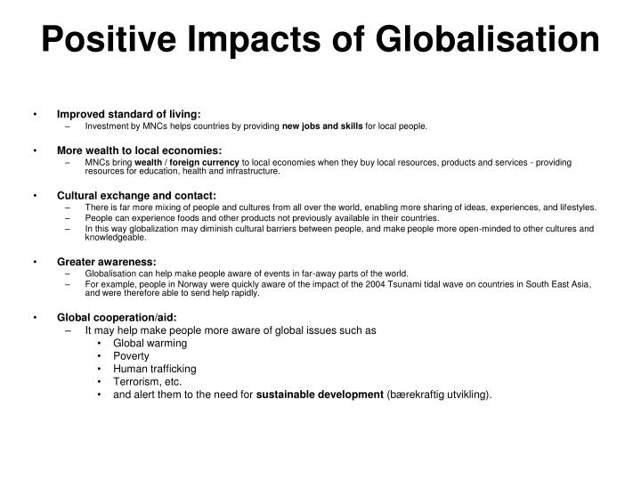 Positive Impacts of Globalisation