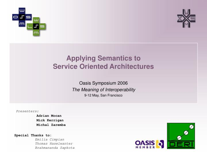 applying semantics to service oriented architectures n.