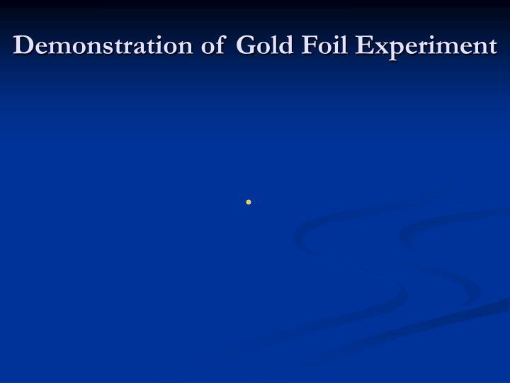 Demonstration of Gold Foil Experiment